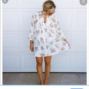 Free People Off White Floral Retro Swing Tunic
